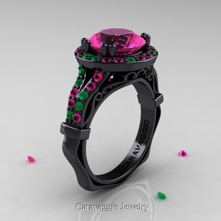 Caravaggio 14K Black Gold 3.0 Ct Pink Sapphire Emerald Engagement Ring Wedding Ring R620-14KBGEMPS