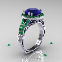 Caravaggio 14K White Gold 3.0 Ct Blue Sapphire Emerald Engagement Ring Wedding Ring R620-14KWGEMBS