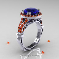 Caravaggio 14K White Gold 3.0 Ct Blue and Orange Sapphire Engagement Ring Wedding Ring R620-14KWGOSBS