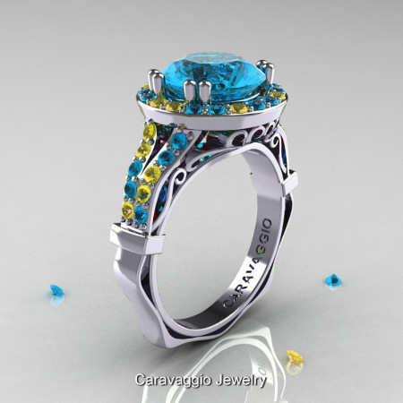 Caravaggio 14K White Gold 3.0 Ct Blue Topaz Yellow Sapphire Engagement Ring Wedding Ring R620-14KWGYSBT