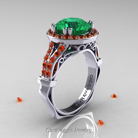 Caravaggio 14K White Gold 3.0 Ct Emerald Orange Sapphire Engagement Ring Wedding Ring R620-14KWGOSEM