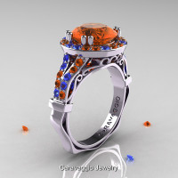 Caravaggio 14K White Gold 3.0 Ct Orange and Blue Sapphire Engagement Ring Wedding Ring R620-14KWGBOS
