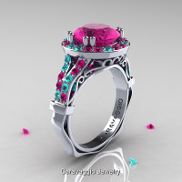 Caravaggio 14K White Gold 3.0 Ct Pink Sapphire Blue Zircon Engagement Ring Wedding Ring R620-14KWGBZPS