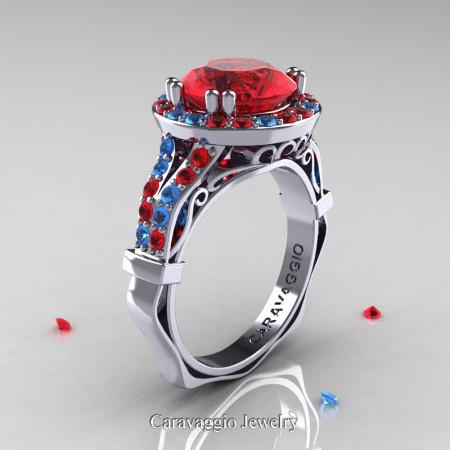 Caravaggio 14K White Gold 3.0 Ct Ruby Blue Topaz Engagement Ring Wedding Ring R620-14KWGBTR