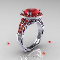 Caravaggio 14K White Gold 3.0 Ct Ruby Orange Sapphire Engagement Ring Wedding Ring R620-14KWGOSR