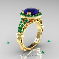 Caravaggio 14K Yellow Gold 3.0 Ct Blue Sapphire Emerald Engagement Ring Wedding Ring R620-14KYGEMBS