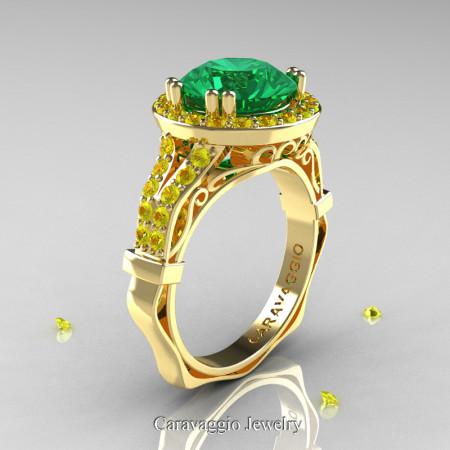 Caravaggio 14K Yellow Gold 3.0 Ct Emerald Yellow Sapphire Engagement Ring Wedding Ring R620-14KYGYSEM