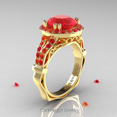 Caravaggio 14K Yellow Gold 3.0 Ct Ruby Orange Sapphire Engagement Ring Wedding Ring R620-14KYGOSR
