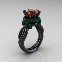High Fashion 14K Black Gold 3.0 Ct Orange Sapphire Emerald Knot Engagement Ring R390-14KBGEMOS