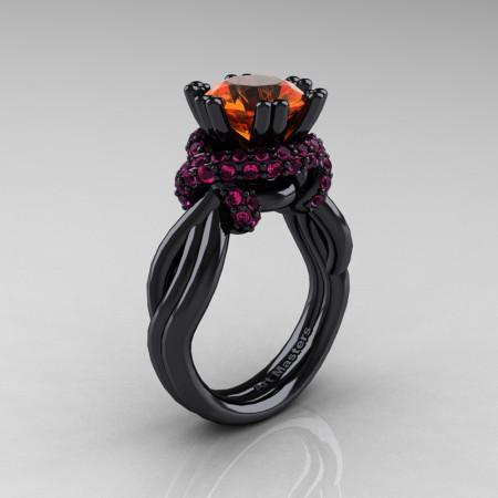 High Fashion 14K Black Gold 3.0 Ct Orange and Pink Sapphire Knot Engagement Ring R390-14KBGPSOS