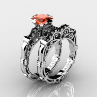 Art Masters Caravaggio 14K White Gold 1.25 Ct Princess Orange Sapphire Black Diamond Engagement Ring Wedding Band Set R623PS-14KWGBDOS