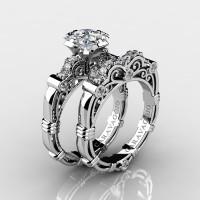 Art Masters Caravaggio 14K White Gold 1.25 Ct Princess White Sapphire Diamond Engagement Ring Wedding Band Set R623PS-14KWGDWS