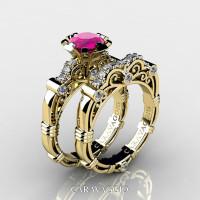 Art Masters Caravaggio 14K Yellow Gold 1.0 Ct Pink Sapphire Diamond Engagement Ring Wedding Band Set R623S-14KYGDPS