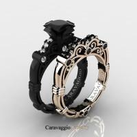 Caravaggio 14K Black and Rose Gold 1.25 Ct Princess Black and White Diamond Engagement Ring Wedding Band Set R623PS-14KBRGDBD