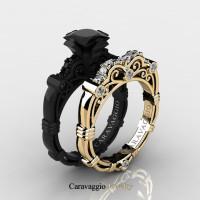 Caravaggio 14K Black and Yellow Gold 1.25 Ct Princess Black and White Diamond Engagement Ring Wedding Band Set R623PS2-14KBYGDBD
