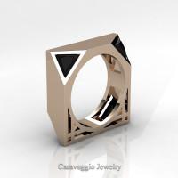 Mens Avant Garde 14K Rose Gold 1.0 Ct Triangle Black Diamond Wedding Ring R349M2-14KRGBD