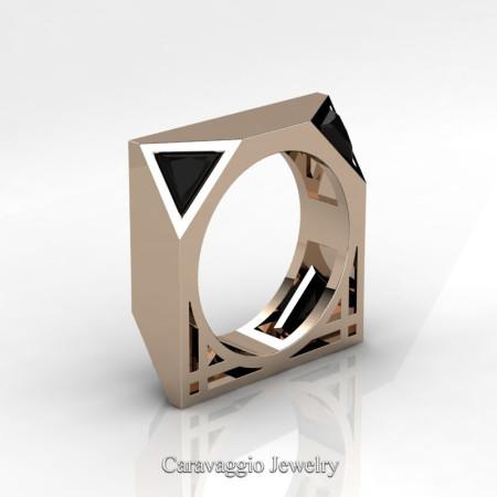 Caravaggio-Avant-Garde-14K-Rose-Gold-1-Ct-Triangle-Black-Diamond-Mens-Wedding-Ring-R349M2-14KRGBD-P