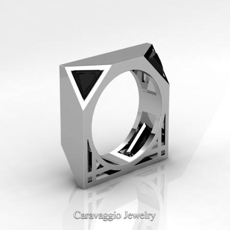 Caravaggio-Avant-Garde-14K-White-Gold-1-Ct-Triangle-Black-Diamond-Mens-Wedding-Ring-R349M2-14KWGBD-P