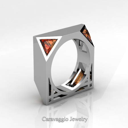 Caravaggio-Avant-Garde-14K-White-Gold-1-Ct-Triangle-Orange-Sapphire-Mens-Wedding-Ring-R349M2-14KWGOS-P2