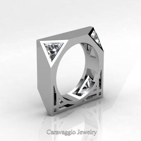 Caravaggio-Avant-Garde-14K-White-Gold-1-Ct-Triangle-White-Sapphire-Mens-Wedding-Ring-R349M2-14KWGWS-P