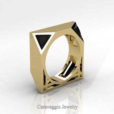 Caravaggio-Avant-Garde-14K-Yellow-Gold-1-Ct-Triangle-Black-Diamond-Mens-Wedding-Ring-R349M2-14KYGBD-P