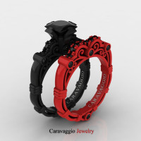 London Exclusive Caravaggio 14K Black and Red Gold 1.25 Ct Princess Black Diamond Engagement Ring Wedding Band Set R623PS-14KBREGBD