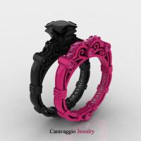 Caravaggio 14K Black and Fuchsia Pink Gold 1.25 Ct Princess Black Diamond Pink Sapphire Engagement Ring Wedding Band Set R623PS2-14KBFPGPSBD