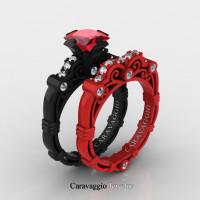 London Exclusive Caravaggio 14K Black and Red Gold 1.25 Ct Princess Ruby Diamond Engagement Ring Wedding Band Set R623PS-14KBREGDR