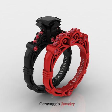 Caravagio-London-14K-Black-and-Red-Gold-1-25-Carat-Princess-Black-Diamond-Ruby-Engagement-Ring-Wedding-Band-Set-R623PS-14KBREGRBD-P