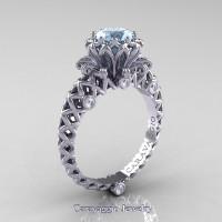Caravaggio Lace 14K White Gold 1.0 Ct Aquamarine Diamond Engagement Ring R634-14KWGDAQ