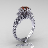 Caravaggio Lace 14K White Gold 1.0 Ct Brown and White Diamond Engagement Ring R634-14KWGDBRD