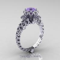 Caravaggio Lace 14K White Gold 1.0 Ct Tanzanite Diamond Engagement Ring R634-14KWGDTA