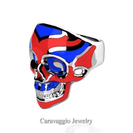 Caravaggio-Mens-14K-White-Gold-Red-Blue-Enamel-Skull-Ring-R638-14KWGRBLE-P