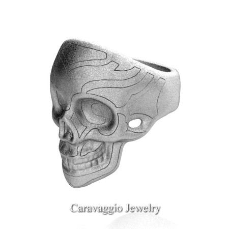 Caravaggio-Mens-14K-White-Gold-Skull-Ring-R638-14KWGS3-P