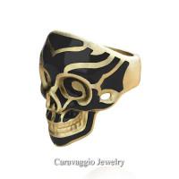 Mens Modern Italian 14K Yellow Gold Black Enamel Skull Ring R635-14KYGSBE