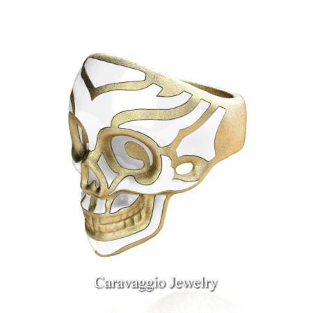 Caravaggio-Mens-14K-Yellow-Gold-White-Enamel-Skull-Ring-R638-14KYGSWE-P