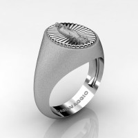 Virgen de Guadalupe Mens 14K White Gold Oval Signet Ring Mexico R705-14KWGS