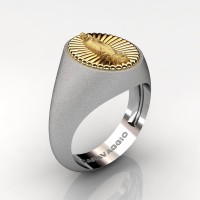 Virgen de Guadalupe Mens 14K White and Yellow Gold Oval Signet Ring Mexico R705-14KWYGS