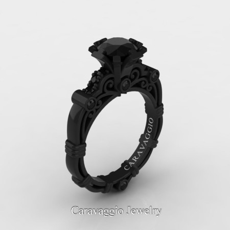 Art-Masters-Caravaggio-14K-Black-Gold-1-Carat-Black-Diamond-Engagement-Ring-R623-14KBGBD-P