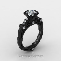 Caravaggio 14K Black Gold 1.0 Ct White Sapphire White Diamond Engagement Ring R623-14KBGDWS