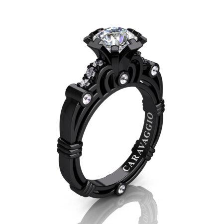 Art-Masters-Caravaggio-14K-Black-Gold-1-Carat-White-Sapphire-Diamond-Engagement-Ring-R623-14KBGDWS-P