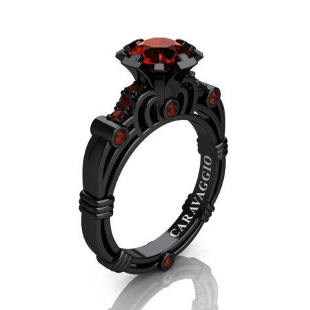 Caravaggio-Jewelry-14K-Black-Gold-1-Carat-Brown-Diamond-Engagement-Ring-R623-14KBGBRD-P