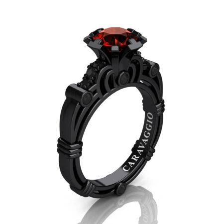 Caravaggio-Jewelry-14K-Black-Gold-1-Carat-Brown-and-Black-Diamond-Engagement-Ring-R623-14KBGVDBRD-P