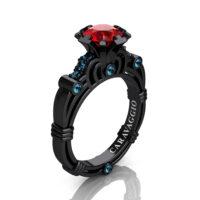 Caravaggio 14K Black Gold 1.0 Ct Ruby Blue Topaz Engagement Ring R623-14KBGBTR