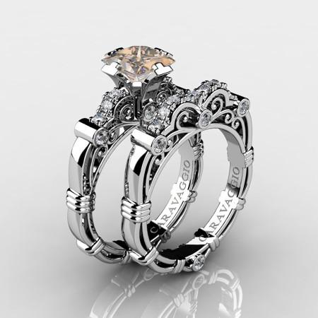 Art-Masters-Caravaggio-14K-White-Gold-1-25-Carat-Princess-Champagne-and-White-Diamond-Engagement-Ring-Wedding-Band-Set-R623PS-14KWGDCHD-P