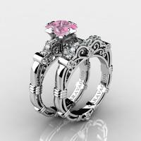 Art Masters Caravaggio 14K White Gold 1.25 Ct Princess Light Pink Sapphire Diamond Engagement Ring Wedding Band Set R623PS-14KWGDLPS