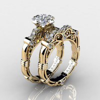 Art Masters Caravaggio 14K Yellow Gold 1.25 Ct Princess White Sapphire Diamond Engagement Ring Wedding Band Set R623PS-14KYGDWS