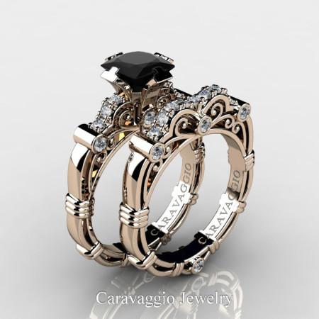 Art-Masters-Caravagio-14K-Rose-Gold-1-5-Carat-Princess-Black-Diamond-and-White-Diamond-Engagement-Ring-Wedding-Band-Set-R623PS-14KRGDBD-P2