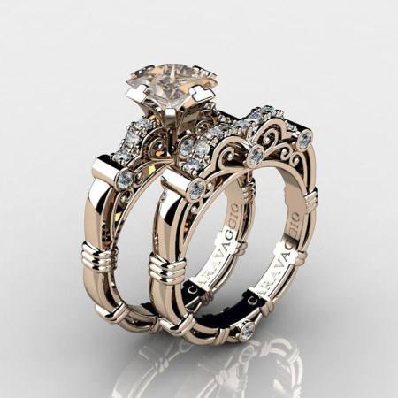 Art-Masters-Caravagio-14K-Rose-Gold-1-5-Carat-Princess-Champagne-and-White-Diamond-Engagement-Ring-Wedding-Band-Set-R623PS-14KRGDCHD-P