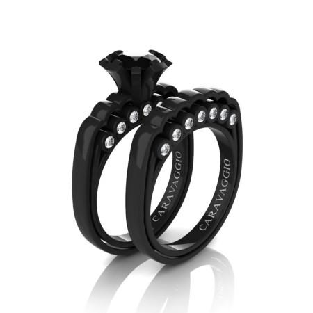 Caravaggio-Classic-14K-Black-Gold-1-0-Carat-Black-and-White-Diamond-Engagement-Ring-Wedding-Band-Set-R637S-14KBGDBD-P